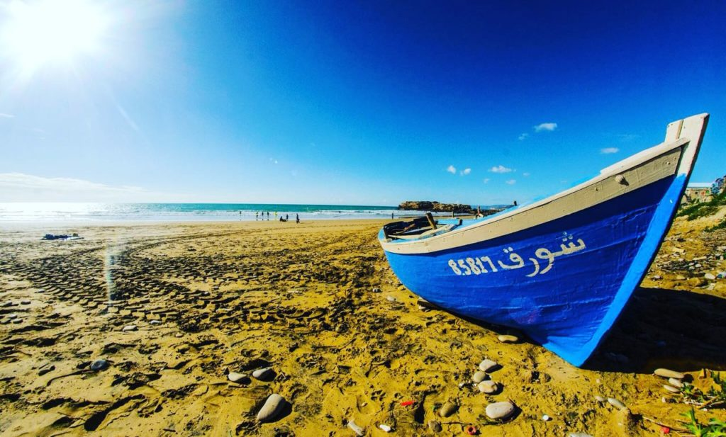 Fisherman boat in our local beach in Tamraght Morocco