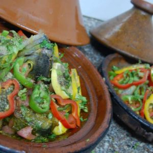Delicious fish Tajine in Tiziri Surf Maroc accommodation in Tamraght Morocco